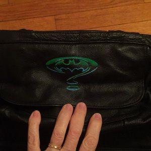 Small leather Batman logo Gym Bag